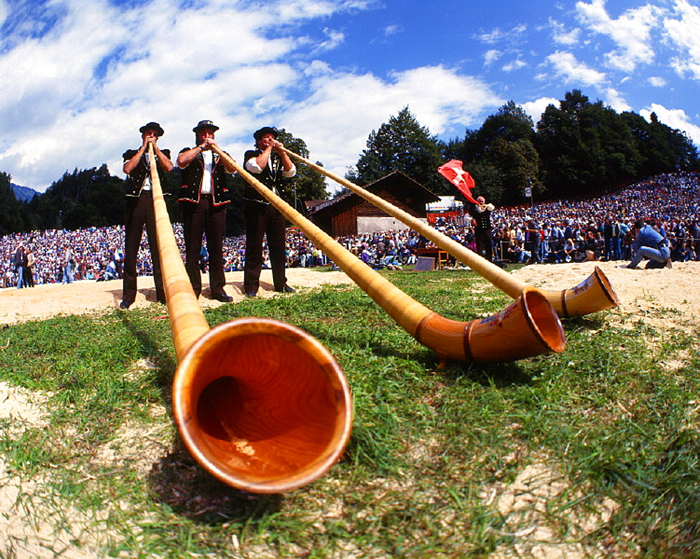 alphorn, arrangement, Canton Berne, Bernese Oberland, blower, canton, competition, costumes, farm, folklore, Interla. alphorn, arrangement, Canton Berne, Bernese Oberland, blower, canton, competition, costumes, farm, folklore, Interla