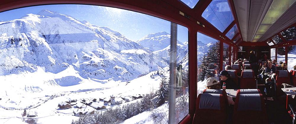 Glacier express train, Surselva, Grisons, Graubunden, Switzerland, Europe, mountains, tourism, holidays, vacation, tra. Glacier express train, Surselva, Grisons, Graubunden, Switzerland, Europe, mountains, tourism, holidays, vacation, tra