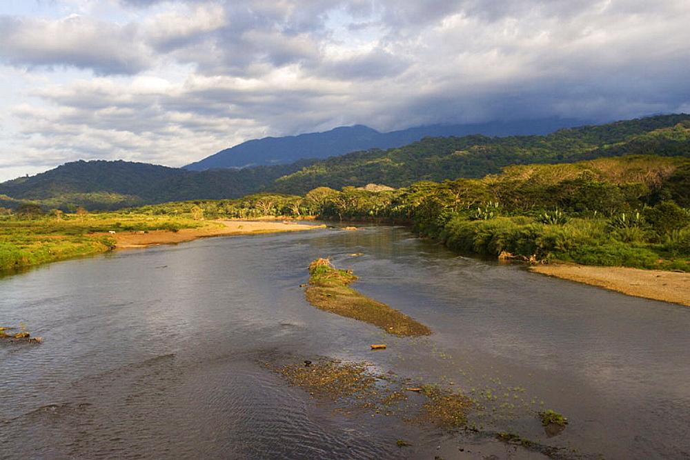 Rio Tarcoles, river, scenery, landscape, Carara, national park, Costa Rica. Rio Tarcoles, river, scenery, landscape, Carara, national park, Costa Rica