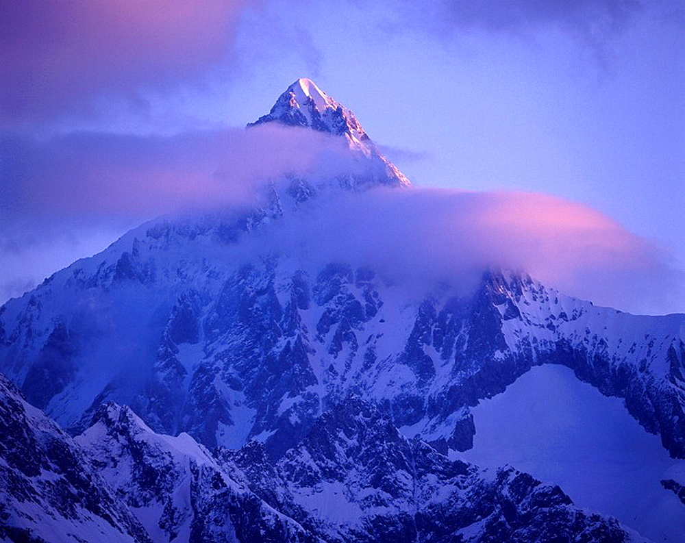 Bietschhorn, mountain, summit, clouds, mood, dusk, twilight, snow, mountains, Alps, scenery, landscape, Switzerland, E. Bietschhorn, mountain, summit, clouds, mood, dusk, twilight, snow, mountains, Alps, scenery, landscape, Switzerland, E - 817-296141