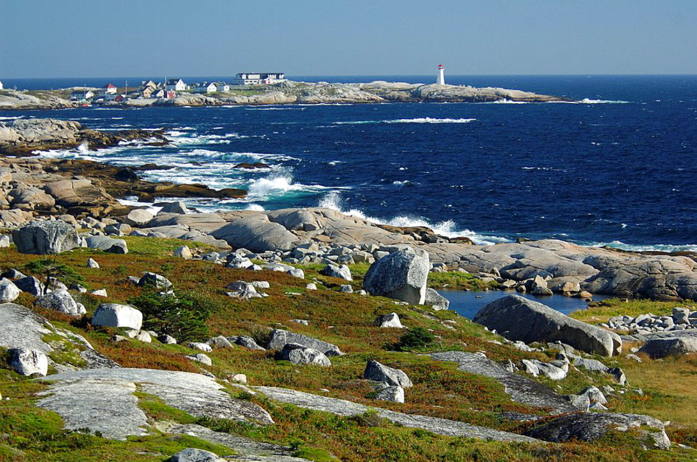 lighthouse, coast, sea, scenery, landscape, rock, cliff, settlement, houses, homes, Peggys Cove, Nova Scotia, maritime. lighthouse, coast, sea, scenery, landscape, rock, cliff, settlement, houses, homes, Peggys Cove, Nova Scotia, maritime