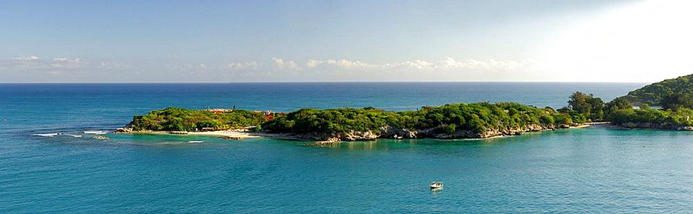 Caribbean, Haiti, Labadee, Panorama, Sand beach, Tourists, Coast, Landscape, Sea, Ocean. Caribbean, Haiti, Labadee, Panorama, Sand beach, Tourists, Coast, Landscape, Sea, Ocean