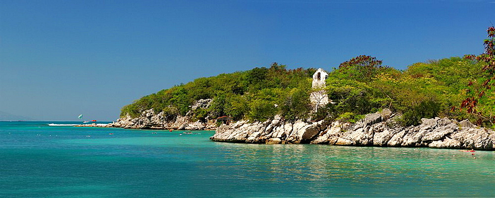 Caribbean, Haiti, Labadee, Panorama, Landscape, Sea, Ocean, Rocky coast, Bell tower, Church. Caribbean, Haiti, Labadee, Panorama, Landscape, Sea, Ocean, Rocky coast, Bell tower, Church