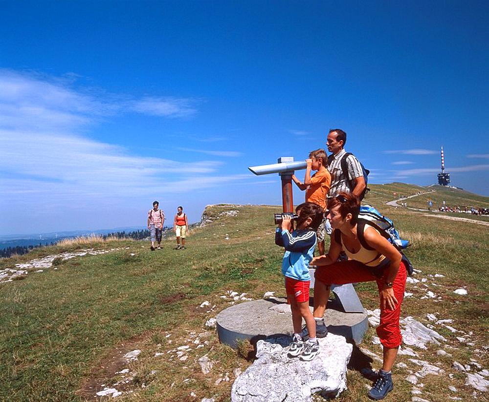 Switzerland, Europe, Mount Chasseral, Jura Mountains, Family, Children, Telescope, binoculars, Group, Hikers, Hiking, . Switzerland, Europe, Mount Chasseral, Jura Mountains, Family, Children, Telescope, binoculars, Group, Hikers, Hiking,