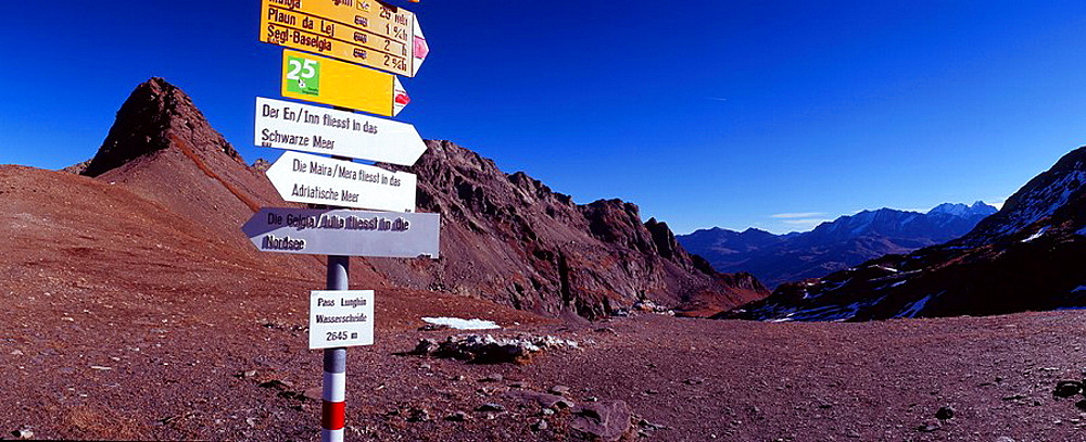 Switzerland, Europe, Lughin pass, triple watershed, trail, signpost, directions, post, geography, geology, hydrology, . Switzerland, Europe, Lughin pass, triple watershed, trail, signpost, directions, post, geography, geology, hydrology,