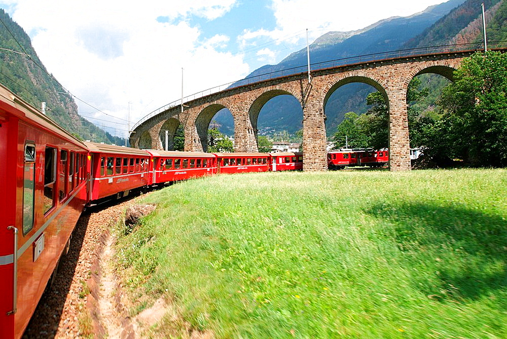 Switzerland, Europe, Brusio, Val Poschiavo, Canton Grisons, Graubunden, Grisons, Bernina Express, Rhaetian Railway, Rh. Switzerland, Europe, Brusio, Val Poschiavo, Canton Grisons, Graubunden, Grisons, Bernina Express, Rhaetian Railway, Rh