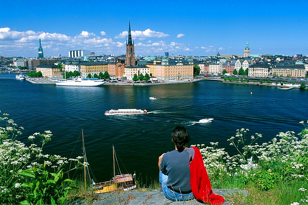Sweden, Europe, Riddarholmen, Stockholm, Capitol, City, Europe, woman, girl, overview, travel, Scandinavia, town, city. Sweden, Europe, Riddarholmen, Stockholm, Capitol, City, Europe, woman, girl, overview, travel, Scandinavia, town, city - 817-299793