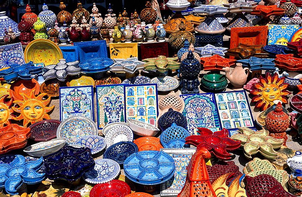Tunisia, Djerba island, ceramic, ceramics, Souk, town, Midoun, Africa, North Africa, Mediterranean Sea, coast, island, . Tunisia, Djerba island, ceramic, ceramics, Souk, town, Midoun, Africa, North Africa, Mediterranean Sea, coast, island,