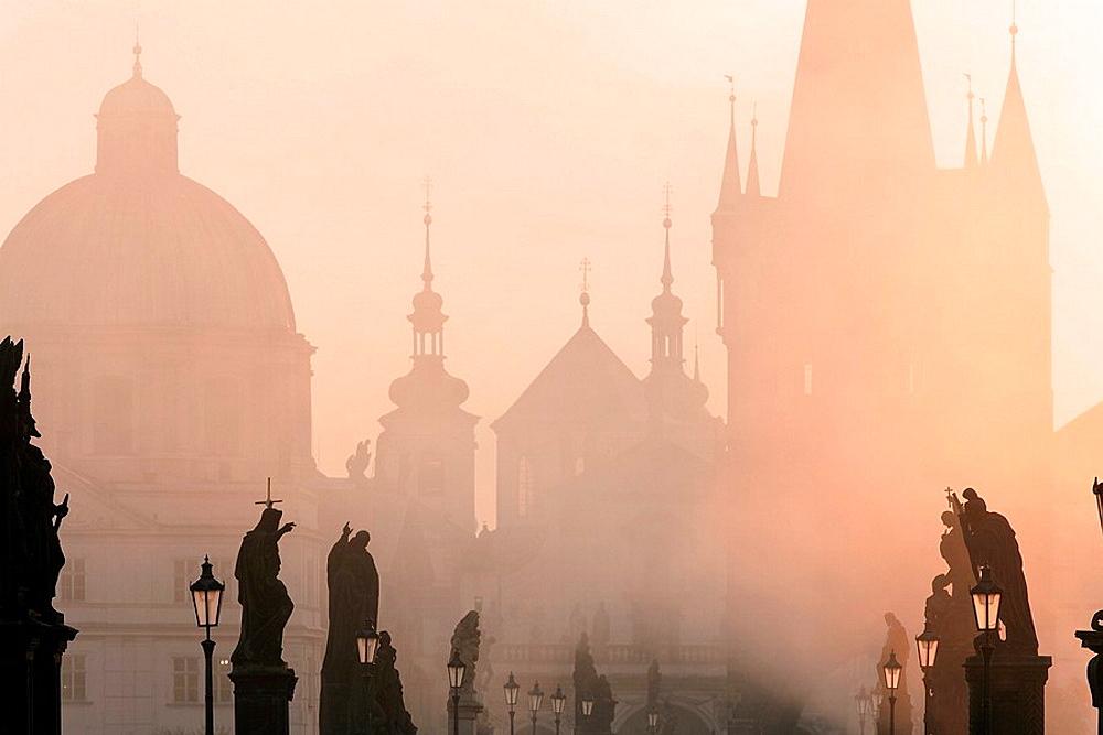 Czech Republic, Prague, Charles Bridge, Architecture, Bridge, Cities, City, Cityscape, Cityscapes, Color, Colour, Dawn. Czech Republic, Prague, Charles Bridge, Architecture, Bridge, Cities, City, Cityscape, Cityscapes, Color, Colour, Dawn