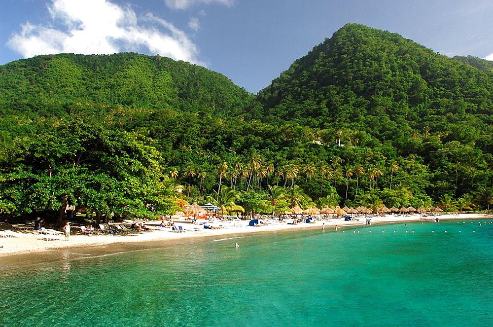 Saint Lucia Near Soufriere At Jalousie Plantation Pitons Caribbean Island Beach