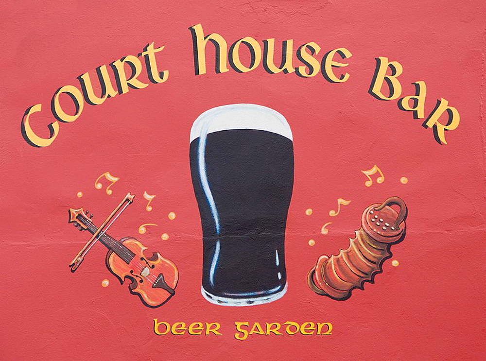 Ireland, Europe, hand, painted, pub, sign, wall, outside, public, house, depicting, glass, beer, musical, instruments, . Ireland, Europe, hand, painted, pub, sign, wall, outside, public, house, depicting, glass, beer, musical, instruments,
