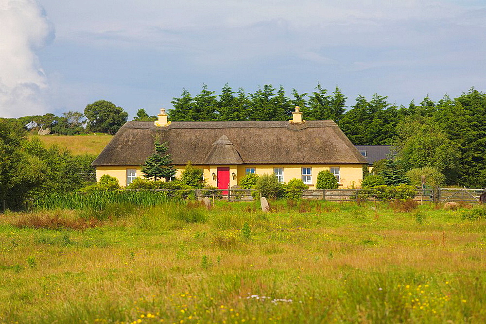 Ireland, Europe, thatched, cottage, yellow, painted, colourful, colorful, house, home, red, wooden, door, rural, setti. Ireland, Europe, thatched, cottage, yellow, painted, colourful, colorful, house, home, red, wooden, door, rural, setti