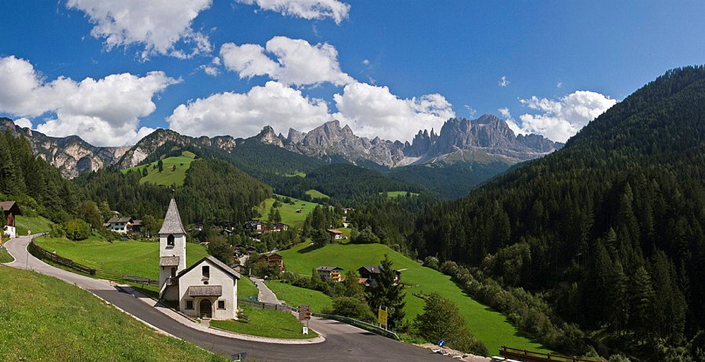 Italy, Europe, St Cyprian, town, Tiers, South Tyrol, South Tirol, Alto Adige, summer, mountains, alps, Landscape, scen. Italy, Europe, St Cyprian, town, Tiers, South Tyrol, South Tirol, Alto Adige, summer, mountains, alps, Landscape, scen