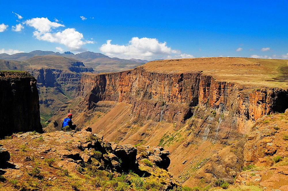 near Semonkong, Lesotho, Southern Africa, canyon, mountain, mountains, landscape, scenery, nature, rocks, rock, Basotho people, shepherd, man, person, local, natives, native. near Semonkong, Lesotho, Southern Africa, canyon, mountain, mountains, landscape, scenery, nature, rocks, rock, Basotho people, shepherd, man, person, local, natives, native