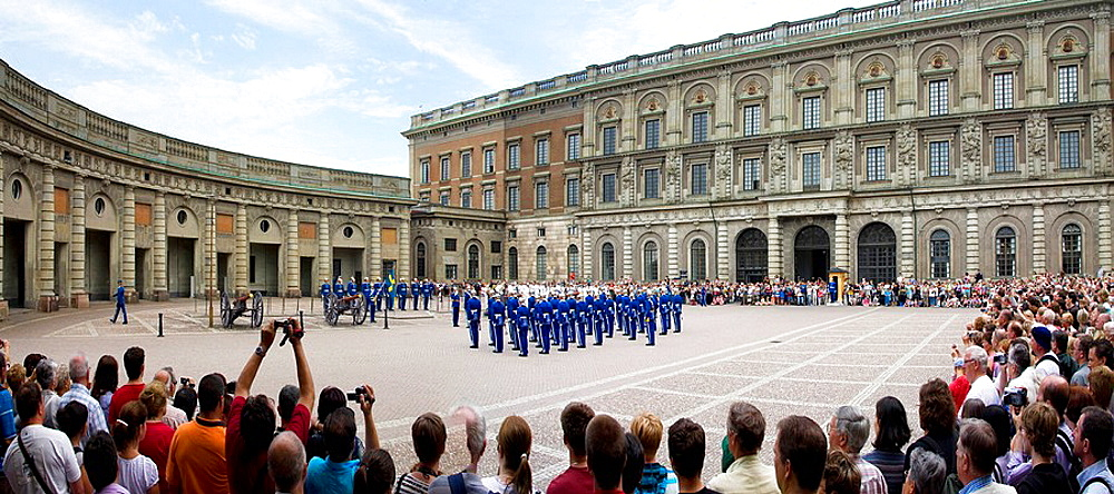 Sweden, Stockholm city, castle, uniforms, changing of the guard, parade, traveling, tourism, holidays, vacation. Sweden, Stockholm city, castle, uniforms, changing of the guard, parade, traveling, tourism, holidays, vacation