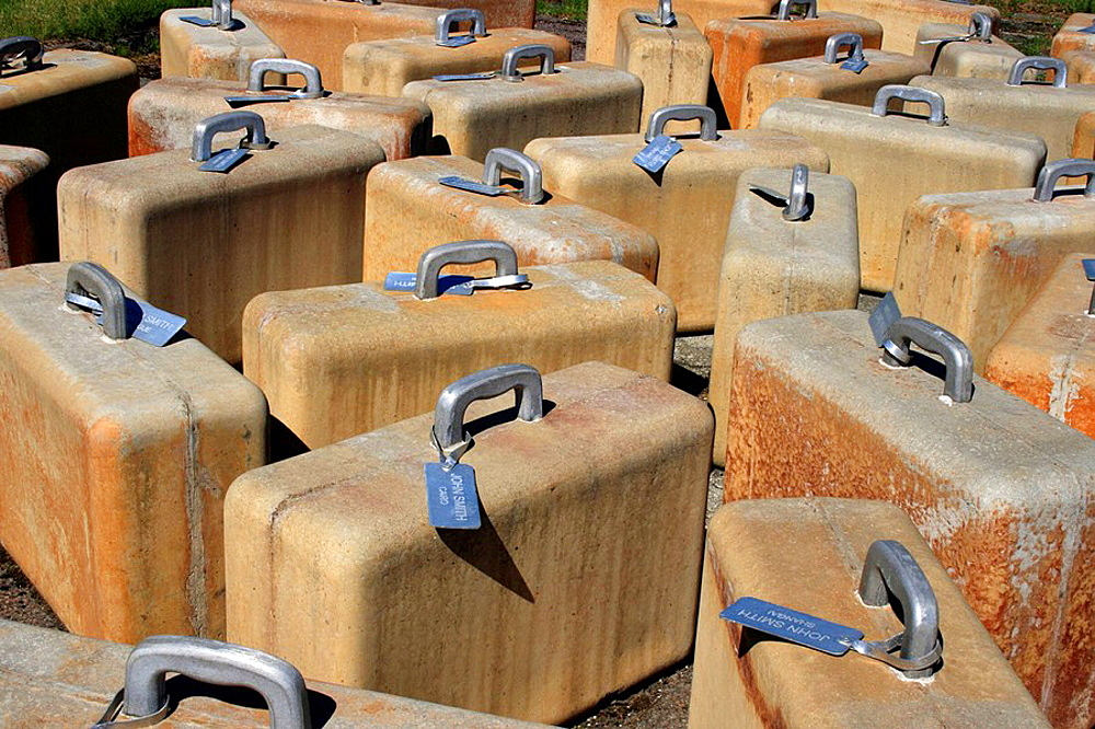 100 Suitcases made of concrete and aluminium, modern art at the city of Viinistu, Estonia, Eastern Europe.