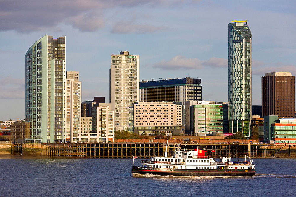 Ferry and Waterfront Skyline, Liverpool, Merseyside, England. Ferry and Waterfront Skyline, Liverpool, Merseyside, England