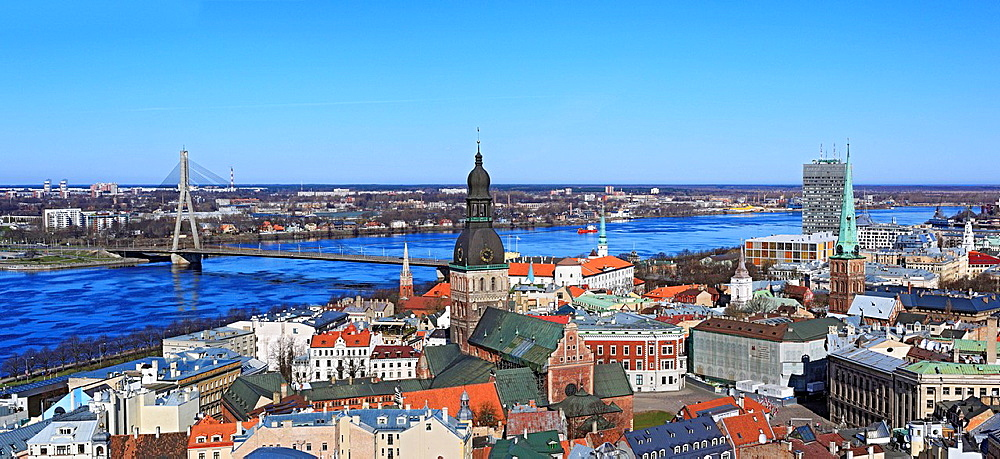 View of city from St. Peters Church, Riga, Latvia. View of city from St. Peters Church, Riga, Latvia