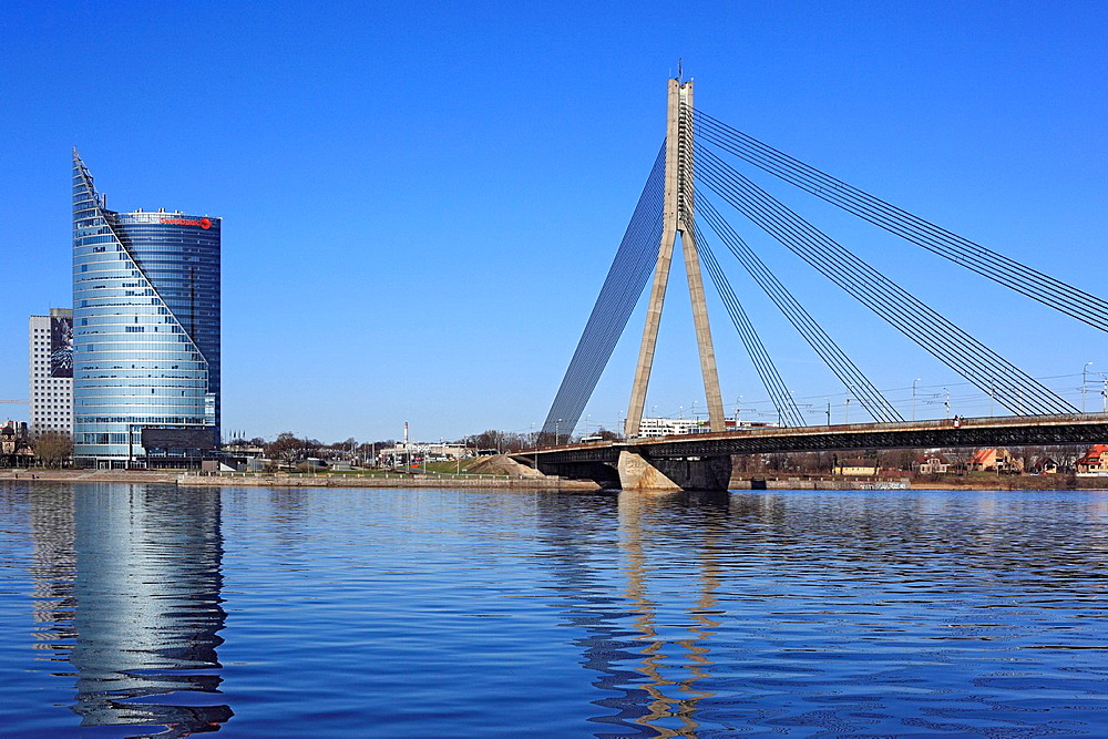 Modern bridge over Daugava river, Riga, Latvia. Modern bridge over Daugava river, Riga, Latvia