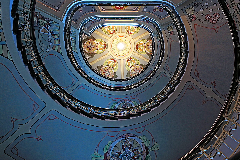 Staircase in Art Nouveau house, Riga, Latvia. Staircase in Art Nouveau house, Riga, Latvia