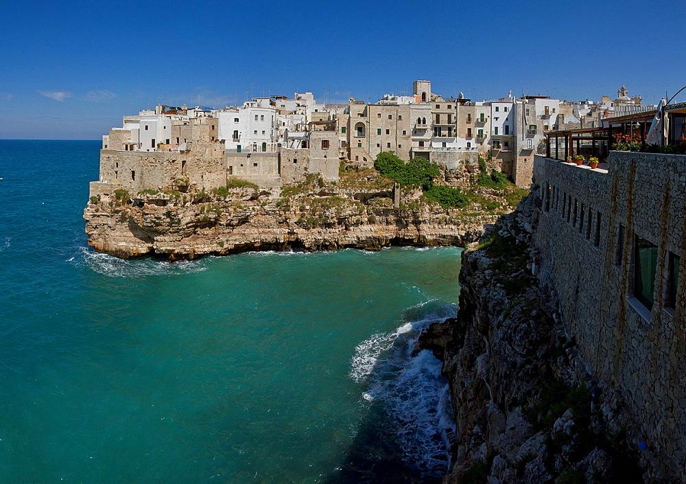 Italy, Europe, Village, on top, rocky coast, Polignano, Puglia, city, village, water, spring, sea, . Italy, Europe, Village, on top, rocky coast, Polignano, Puglia, city, village, water, spring, sea,