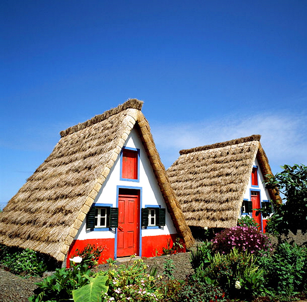 Traditional thatched houses, Santana, Madeira Island, Portugal