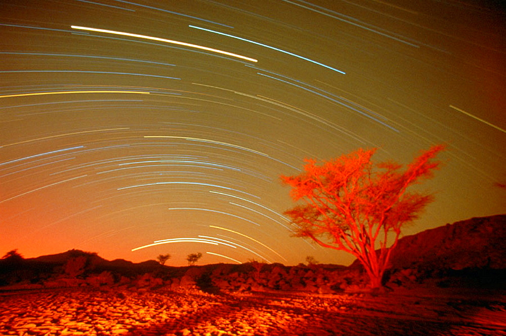 Star trails.Tabiriou canyon, Tibesti, Chad