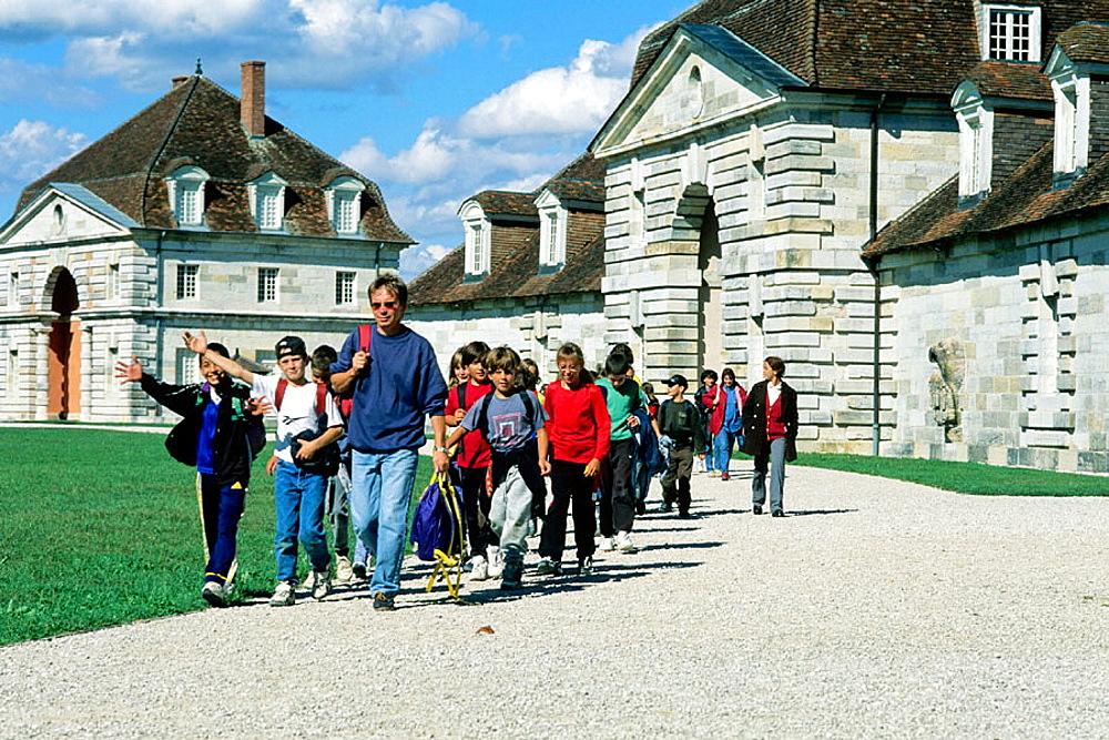 Group of visiting schoolchildren, Royal Saltworks, Arc-et-Senans, France