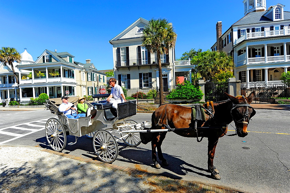 Historic homes and residential dwellings the East and South Battery section in Charleston South Carolina SC circa 1775 buildings