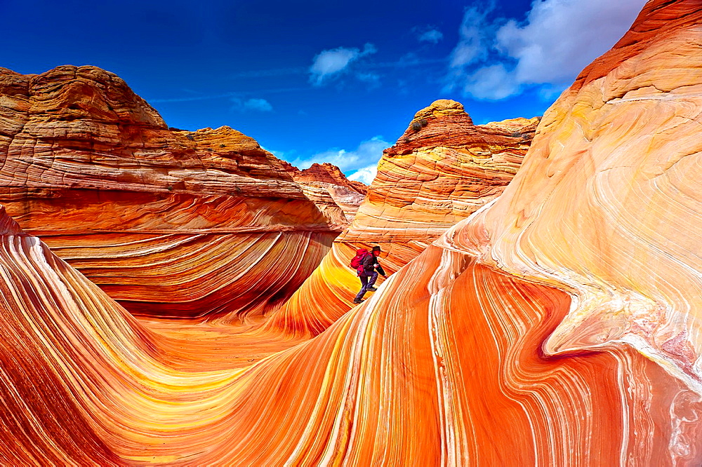 Hiker exploring The Wave, a 190 million year old Jurassic-age Navajo sandstone rock formation, Coyotte Buttes, Paria Canyon-Vermillion Cliffs Wilderness Area, Utah-Arizona border, USA