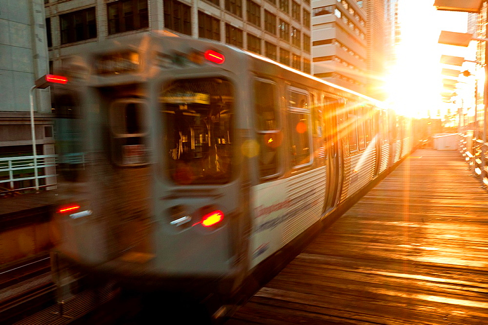 A train in the Chicago rapid transit system known as theL arrives in a station in the LOOP in Chicago, IL, USA