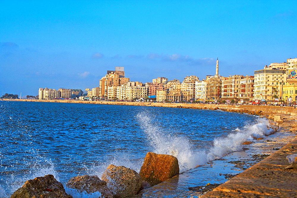 Corniche of Alexandria in evening light,Alexandria, Egypt, North Africa