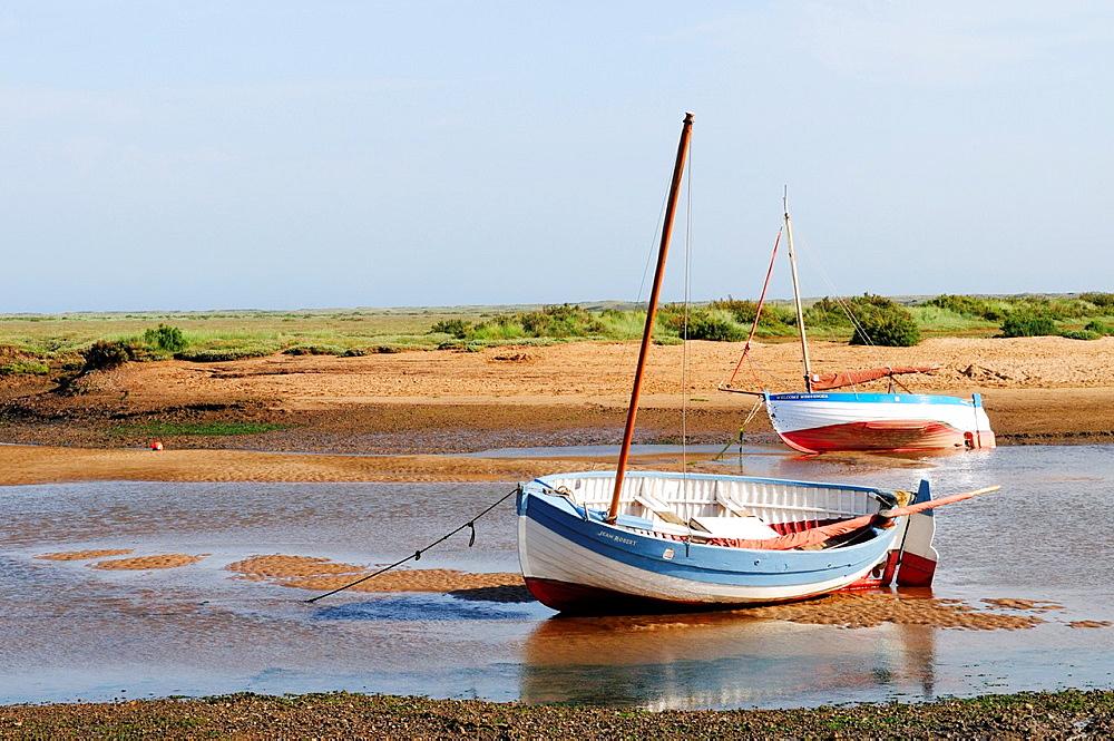 Boats at Burnham Overy Staithe, Norfolk, England, UK