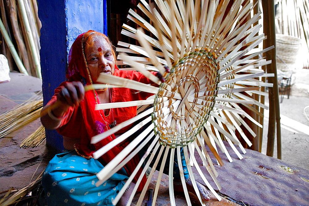 Making a basket, in Sardar Market,Jodhpur, Rajasthan, India