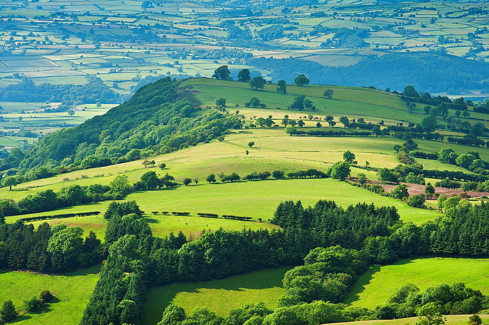 Rural landscape below Hay Bluff, Brecon Beacons national park, Wales