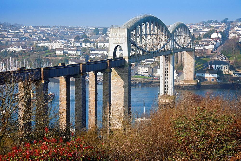 England Devon Plymouth Royal Albert Bridge across the River Tamar