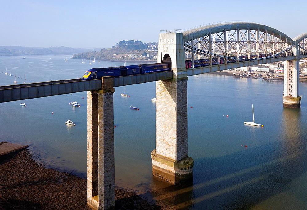 England Devon Plymouth Royal Albert Bridge across the River Tamar with express train