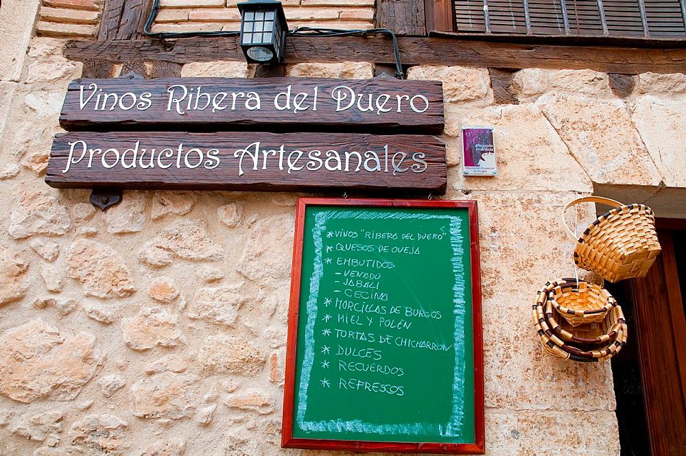 Facade of grocers shop. Penaranda de Duero, Burgos province, Castilla Leon, Spain.