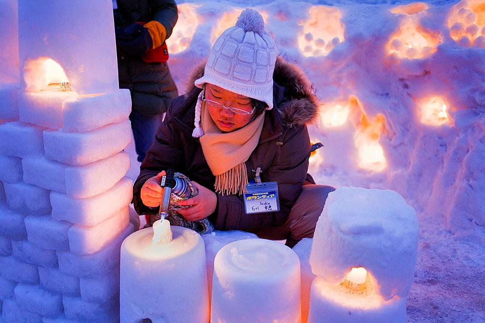 Preparing the Snow festival, Otaru Canal, Otaru Yuki-akari-no-michi, Otaru, Hokkaido, Japan - 817-315777