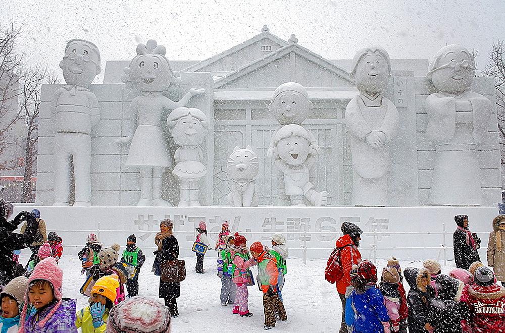 Visitor, Sapporo snow festival, snow sculptures, Odori Park, Sapporo, Hokkaido, Japan - 817-315869