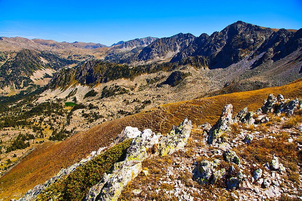 From left to right, 'La tosseta de Vallcivera', Setut peak, Freixar peak, La Colilla peak or Estanyons peak, Madriu Valley, Andorra