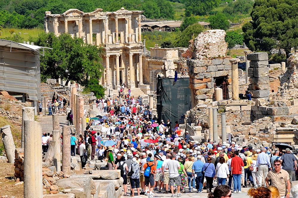 Crowd on Curetes Street Ancient Ephesus Turkey Kusadasi Aegean Mediterranean