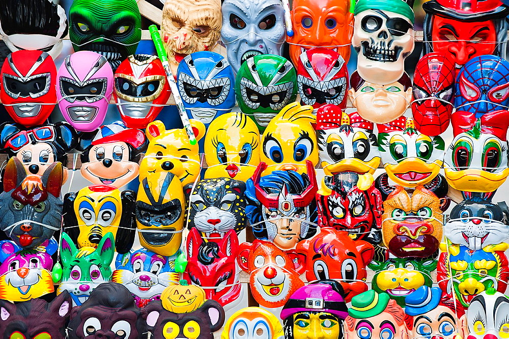 Street carnival, Mask booth, Montevideo, Uruguay, South America - 817-317521