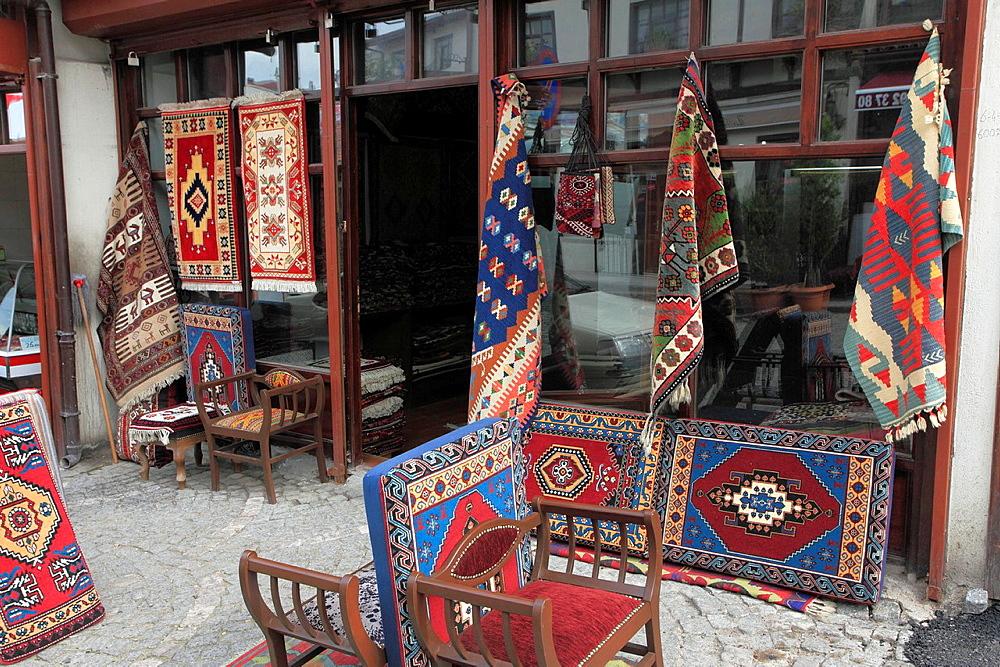 Turkey, Ankara, Ulus, carpet shop,
