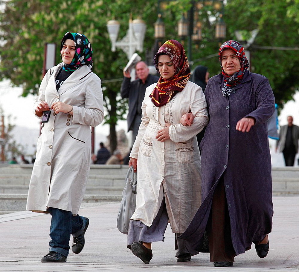 Turkey, Ankara, women with headscarf, conservative islamic dress,