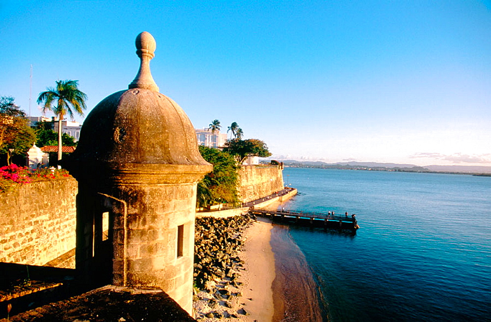 this ancient sentry post, part of the wall that once encircled Old San Juan, overlooks San Juan Bay near the San Juan Gate, Puerto Rico.