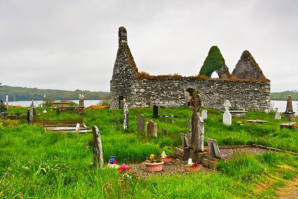 Church ruin and graveyard in Baltimore, County Cork, Ireland, Europe