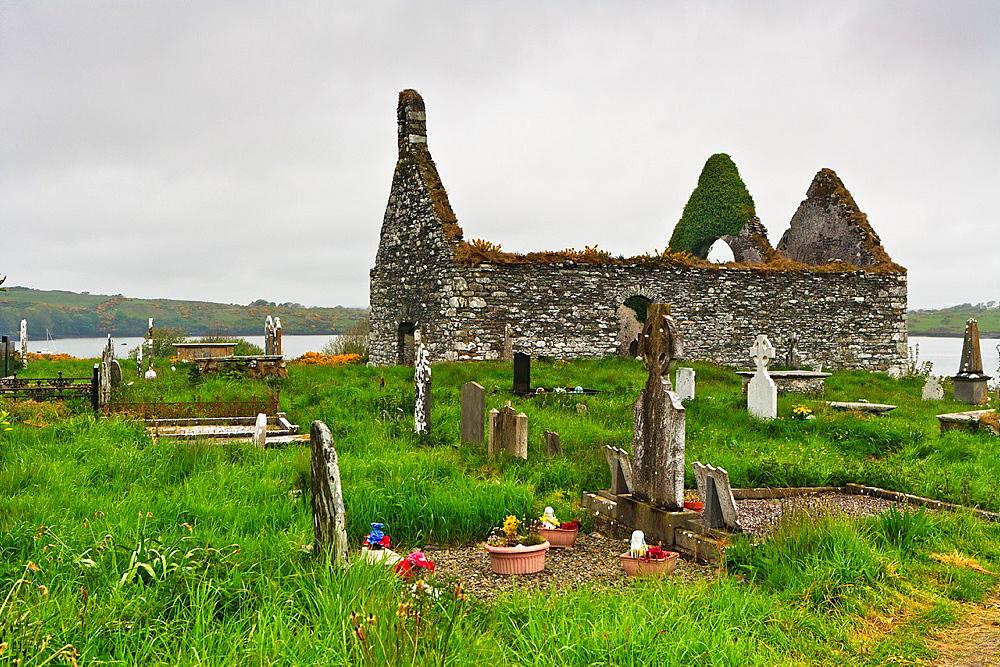 Church ruin and graveyard in Baltimore, County Cork, Ireland, Europe