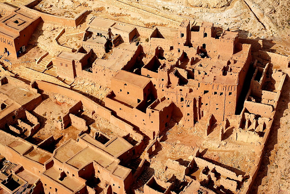 Aerial view of a ksar, Ait Ben Haddou, Southern Morocco