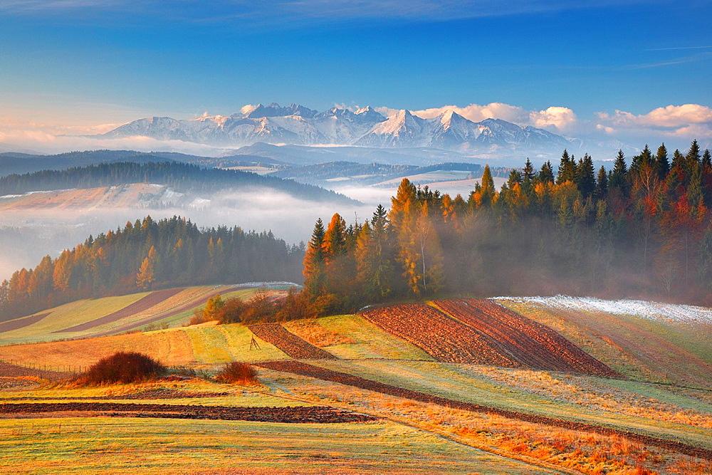 View from Pieniny to Tatra Mountains, Poland, Europe